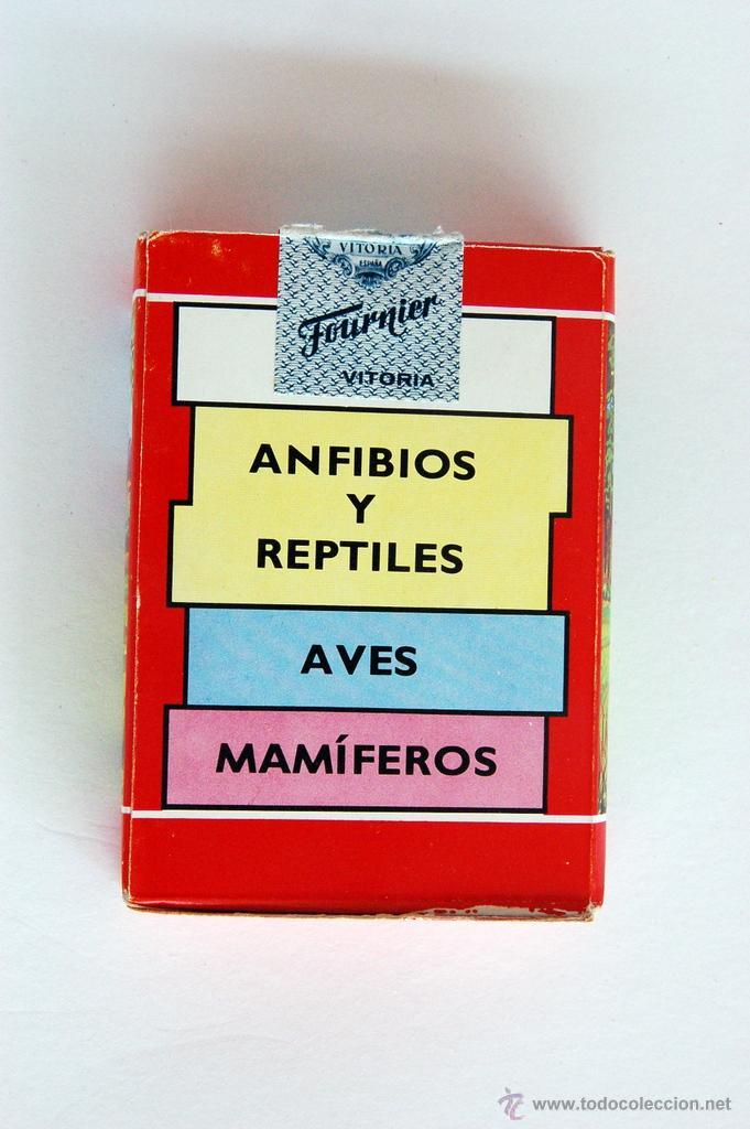 Barajas de cartas: Antigua Baraja infantil de Fournier. Animales Vertebrados. Vida y Color. 1968 - Foto 3 - 43544392