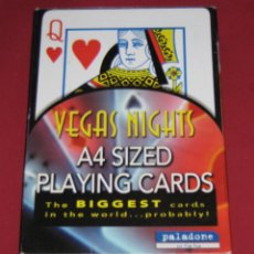 Barajas de cartas: BARAJA DE CARTAS DE GRAN TAMAÑO - 30X20 CMS - VEGAS NIGHTS A4 SIZED PLAYING CARDS. Lote 44161658