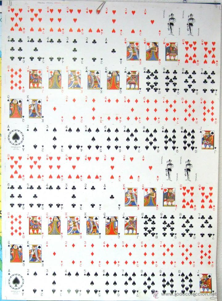 PLIEGO CON 2 BARAJAS COMPLETAS DE POKER - BRIDGE * TIFFANY & CO. NEW YORK * 68 X 94 CM. PIEZA RARA! (Juguetes y Juegos - Cartas y Naipes - Barajas de Póker)