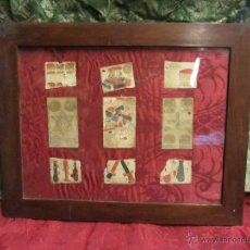 Barajas de cartas: NAIPES S. XVII-XVIII ENMARCADOS CON OTROS FRAGMENTOS. Lote 46172381