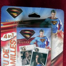 Barajas de cartas: SUPERMAN JUEGO DE CARTAS FAMILIAR 4 EN 1 DE CARTAMUNDI MADE IN BELGIUM PRECINTADO. Lote 46222719