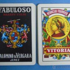 Barajas de cartas: BARAJA DE CARTAS ESPAÑOLA. FOURNIER. FABULOSO BRANDY VIEJO DE PALOMINO & VERGANA VINO JEREZ. BEBIDAS. Lote 46244843