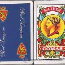 Barajas de cartas - BARAJA ESPAÑOLA, CON REVERSO DEL REAL ZARAGOZA, NAIPES COMAS. PRECINTADA. - 47074762