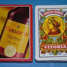 Barajas de cartas: BARAJA DE CARTAS ESPAÑOLA. FOURNIER. CARLOS III. SOLERA RESERVA BRANDY DE JEREZ. BOTELLA BEBIDAS. Lote 47258419