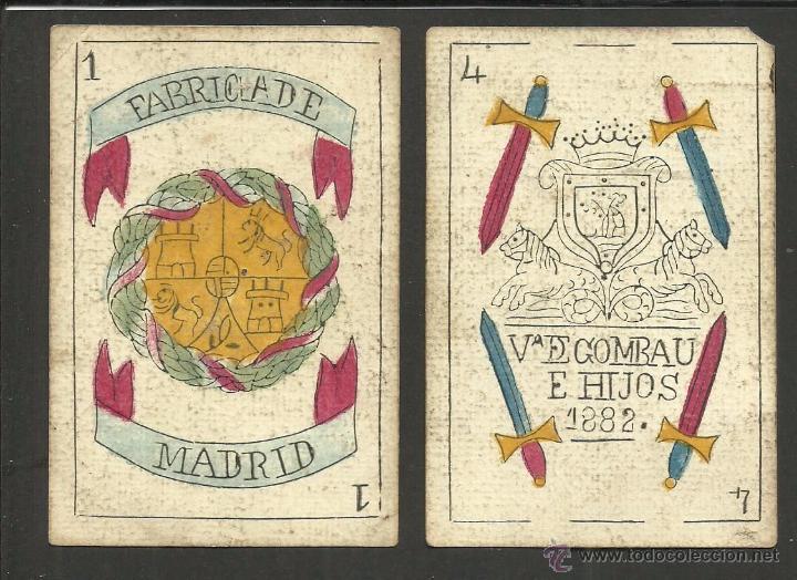 BARAJA CARTAS FABRICA DE MADRID-VDA . DE GOMBAU E HIJOS 1882-COMPLETA 40 CARTAS-VER FOTOS-(CR-817) (Juguetes y Juegos - Cartas y Naipes - Baraja Española)