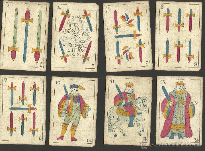 Barajas de cartas: BARAJA CARTAS FABRICA DE MADRID-VDA . DE GOMBAU E HIJOS 1882-COMPLETA 40 CARTAS-VER FOTOS-(CR-817) - Foto 10 - 48775610