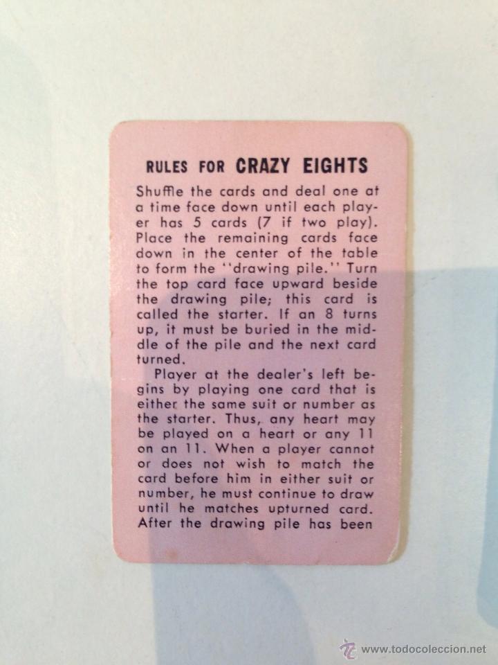 Barajas de cartas: BARAJITA DE CARTAS MARCA WHITMAN CRAZYEIGHTS AMERICANA - Foto 3 - 49448346
