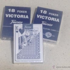 Barajas de cartas: LOTE 3 BARAJAS 18 POKER VICTORIA FOURNIER PLAYING CARDS 55 CARTAS NUEVAS PRECINTADAS COLOR AZUL. Lote 50782737