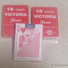 Barajas de cartas: LOTE 3 BARAJAS 18 POKER VICTORIA FOURNIER PLAYING CARDS 55 CARTAS NUEVAS PRECINTADAS COLOR ROJO. Lote 50782743