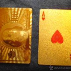 Barajas de cartas: CARTAS POKER BAÑADAS EN ORO 24 KILATES CON CAJA DE MADER. Lote 50810281