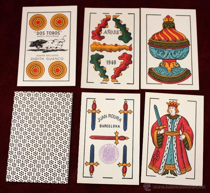 Barajas de cartas: ANTIGUA BARAJA DE NAIPES DE JUAN ROURA (DOS TOROS, MARCA REGISTRADA) JUDITH GUANCO. EXCELENTE ESTADO - Foto 2 - 51245267
