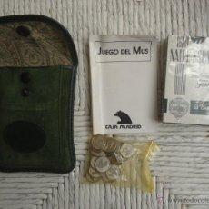Barajas de cartas: JUEGO DE BARAJAS, REGLAMENTO DE MUS Y FICHAS ESTUCHE DE PIEL.. Lote 52342500