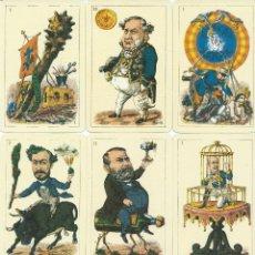 Barajas de cartas: BARAJA ESPAÑOLA CARICATURAS POLITICOS ESPAÑOLES DE 1868.-FOURNIER-AÑO 1999. Lote 155487646