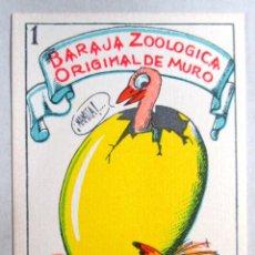 Barajas de cartas: BARAJA ZOOLOGICA DE MURO , 40 NAIPES - ORIGINAL - COMPLETA - CON PUBLICIDAD AZAFRANES EN EL REVERSO. Lote 78657093