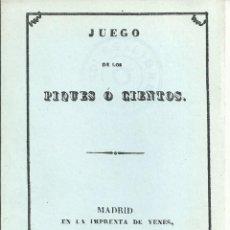 Jeux de cartes: REGLAMENTO JUEGO CARTAS DE LOS PIQUES O CIENTOS 1838 FACSIMIL NUMERADO DE 1981. Lote 53576058