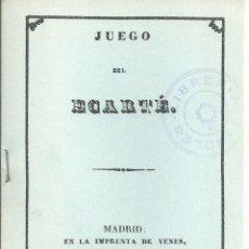 Jeux de cartes: REGLAMENTO JUEGO CARTAS ECARTÉ . MADRID 1838 . FACSIMIL NUMERADO DE 1981. Lote 53576238