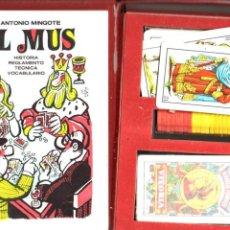 Barajas de cartas: MINGOTE : EL MUS - ESTUCHE CON DOS BARAJAS, FICHAS Y LIBRO (J&B - PRENSA ESPAÑOLA, 1982). Lote 53807314