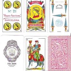 Barajas de cartas: BARAJA ESPAÑOLA Nº 21, JUAN ROURA Nº 1.E. AÑO 1939 CON TIMBRE DE EXPORTACION AZUL VERDO. IMPECABLE.. Lote 200796650