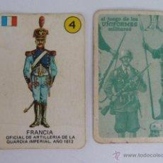 Barajas de cartas: UNIFORMES CARTA 4 FRANCIA EL JUEGO DE LOS UNIFORMES MILITARES - EDICIONES RECREATIVAS - 1970 . Lote 54160245