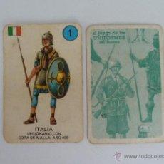 Barajas de cartas: UNIFORMES CARTA 1 ITALIA EL JUEGO DE LOS UNIFORMES MILITARES - EDICIONES RECREATIVAS - 1970 . Lote 54160279