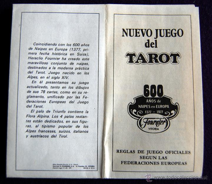 Barajas de cartas: BARAJA TAROT FOURNIER. NUEVO JUEGO. DEDICADO A LA REGION ALPINA. PRECINTADO. 1977. CAJA ORIGINAL - Foto 5 - 54532666