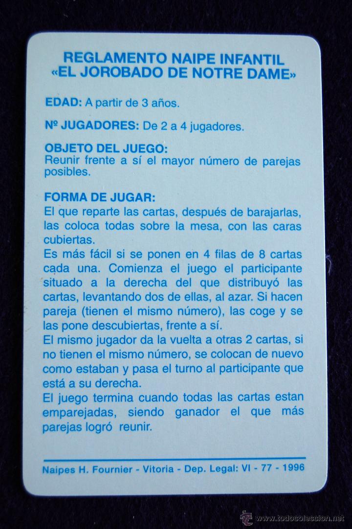 Barajas de cartas: BARAJA INFANTIL FOURNIER. EL JOROBADO DE NOTRE DAME. SIN USAR. COMPLETA. 33 CARTAS. 1996 - Foto 2 - 54542697
