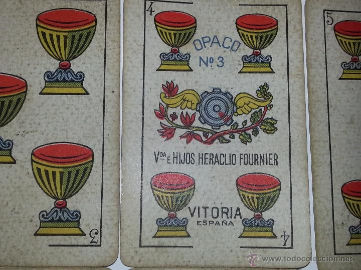 Barajas de cartas: HERACLIO FOURNIER : BARAJA ESPAÑOLA Vª E HIJOS OPACA Nº 3 TIMBRE DE EXPORTACION AÑO 1904 INCOMPLETA - Foto 6 - 54837600