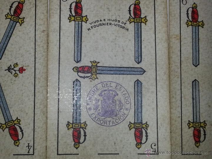 Barajas de cartas: HERACLIO FOURNIER : BARAJA ESPAÑOLA Vª E HIJOS OPACA Nº 3 TIMBRE DE EXPORTACION AÑO 1904 INCOMPLETA - Foto 7 - 54837600