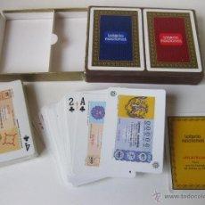 Barajas de cartas: ESTUCHE CON DOS BARAJAS O BARAJA DOBLE DE LA LOTERIA NACIONAL - MATASELLOS CLASICOS FECHADORES 1975. Lote 55037429