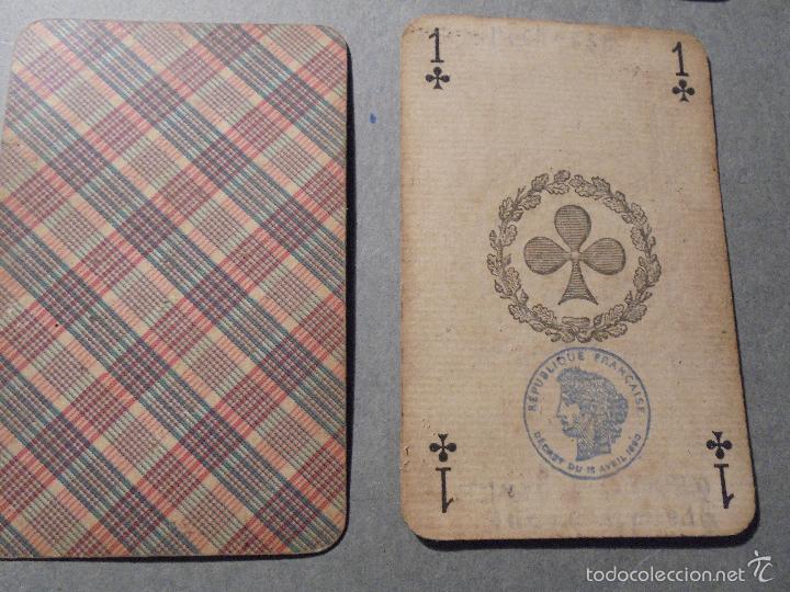 Barajas de cartas: ANTIGUA BARAJA FRANCESA S. XIX PARA JUGAR AL JUEGO DEL BELOTE , PIQUET , MANILLE 32 CARTAS COMPLETA - Foto 3 - 56084766