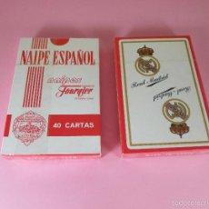 Barajas de cartas: ANTIGUO JUEGO BARAJA/CARTAS/NAIPES-REAL MADRID-HERACLIO FOURNIER-40 CARTAS-PRECINTADA-VER FOTOS. Lote 57152003