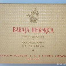 Barajas de cartas: FOURNIER, BARAJA HISTÓRICA, DESCUBRIDORES Y COLONIZADORES DE AMÉRICA. Lote 57554640
