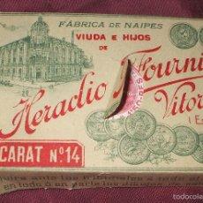 Barajas de cartas: BARAJA A ESTRENAR VIUDA E HIJOS DE HERACLIO FOURNIER BACCARAT Nº 14 SOBRE 1920 TIMBRE 1,50 PTAS. Lote 57742774