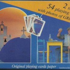 Barajas de cartas: BARAJA COMPLETA EN CAJA 54 CARTAS DE VISTAS DE GRECIA. Lote 132226602