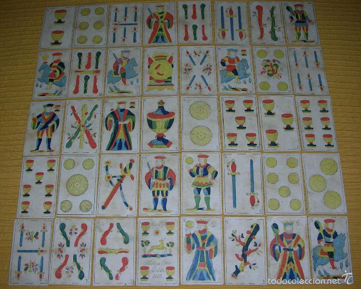 ANTIGUA BARAJA COLOREADA A MANO, SEBASTIAN COMAS, BARNA, AÑO 1.850 (Juguetes y Juegos - Cartas y Naipes - Baraja Española)