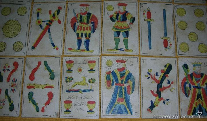 Barajas de cartas: ANTIGUA BARAJA COLOREADA A MANO, SEBASTIAN COMAS, BARNA, AÑO 1.850 - Foto 2 - 58516223