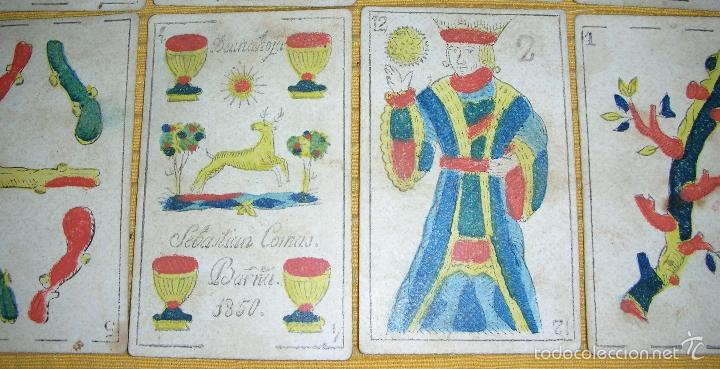 Barajas de cartas: ANTIGUA BARAJA COLOREADA A MANO, SEBASTIAN COMAS, BARNA, AÑO 1.850 - Foto 3 - 58516223
