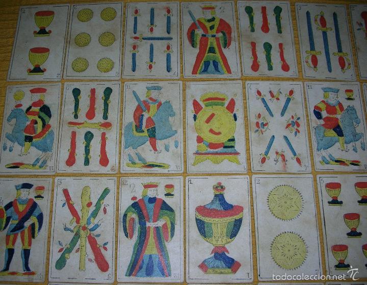 Barajas de cartas: ANTIGUA BARAJA COLOREADA A MANO, SEBASTIAN COMAS, BARNA, AÑO 1.850 - Foto 4 - 58516223