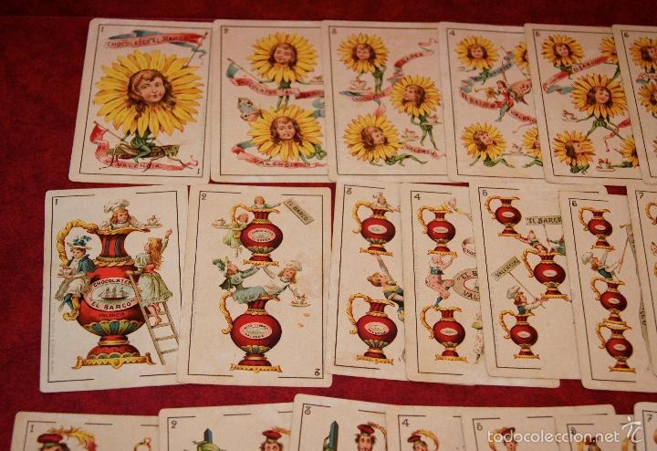 Barajas de cartas: BARAJA COMPLETA 48 CROMOS CHOCOLATES EL BARCO PEQUEÑA SIMEON DURA VALENCIA 1895 - Foto 2 - 58605061