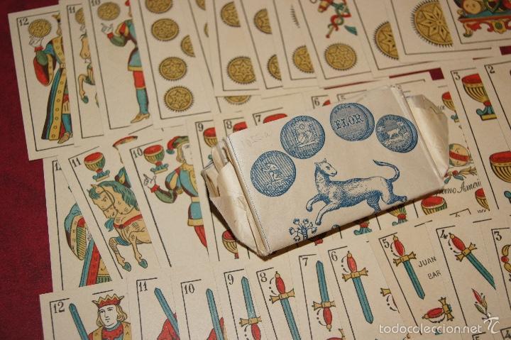 Barajas de cartas: BARAJA 48 NAIPES LEGITIMA LOBA DOS MUNDOS JUAN ROURA BARCELONA 1916 - Foto 2 - 58776401