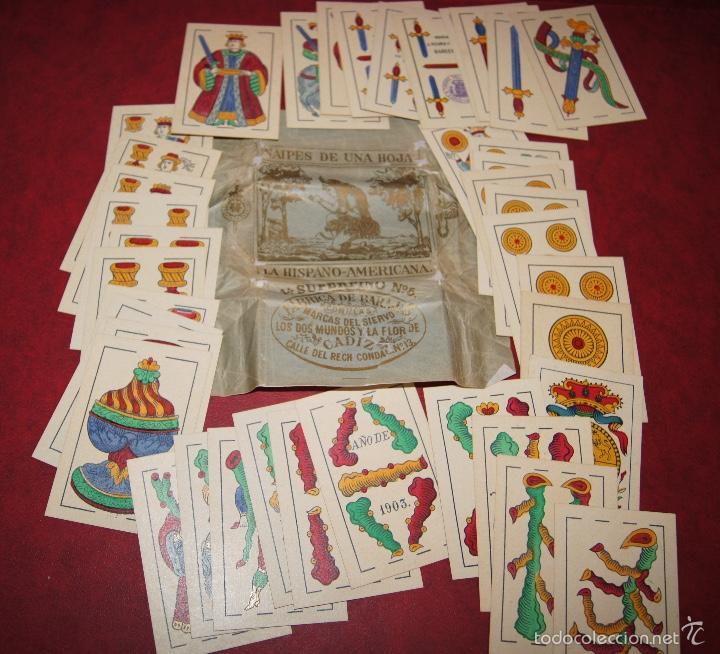 Barajas de cartas: BARAJA 40 NAIPES VIUDA J. ROURA Y PRESAS BARCELONA 1903 EL SIERVO, DOS MUNDOS Y FLOR DE CADIZ - Foto 3 - 58780136