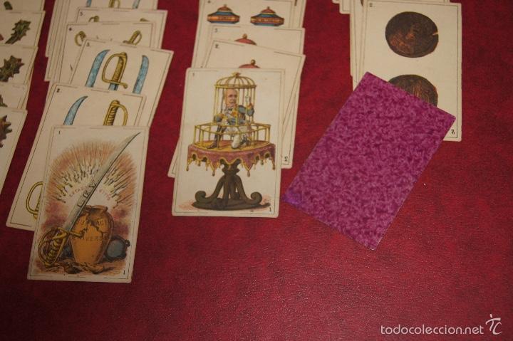 Barajas de cartas: BARAJA POLITICA 48 CARTAS 1872 ESPAÑA CON HONRA FRANCAR Y CIA BARCELONA RARA - Foto 3 - 58845946