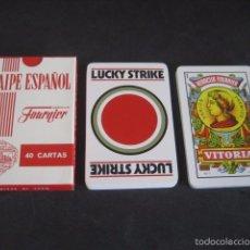 Barajas de cartas: BARAJA ESPAÑOLA FOURNIER. PUBLICIDAD TABACO CIGARRILLOS LUCKY STRIKE. Lote 58947555