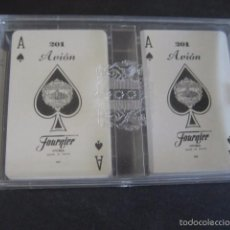 Barajas de cartas: DOBLE BARAJA POKER MINI FOURNIER 201 AVION. . Lote 58950930