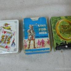 Barajas de cartas: LOTE 3 BARAJA DE CARTAS. UNIFORMES MILITARES, SEÑOR DE LOS ANILLOS, BARÇA FUTBOL. Lote 60028379