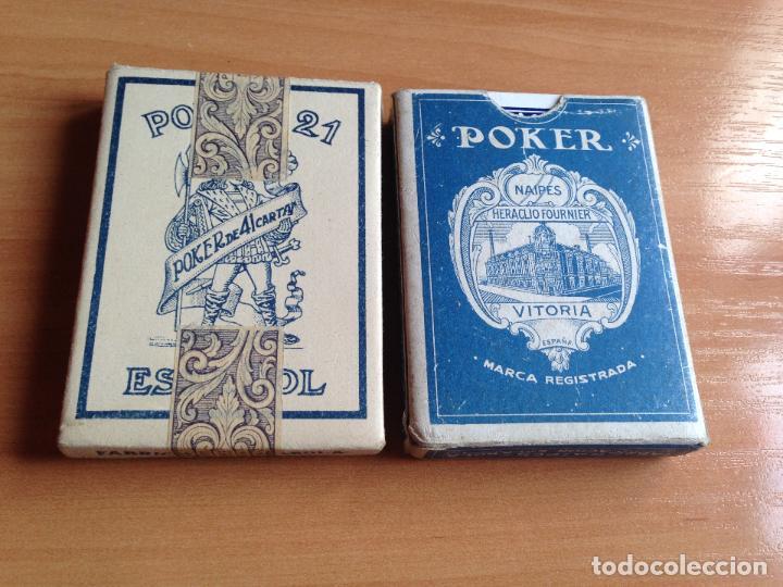 LOTE 2 ANTIGUAS BARAJAS CARTAS POKER 21 ESPAÑOL HERACLIO FOURNIER (Juguetes y Juegos - Cartas y Naipes - Barajas de Póker)