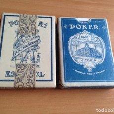 Barajas de cartas: LOTE 2 ANTIGUAS BARAJAS CARTAS POKER 21 ESPAÑOL HERACLIO FOURNIER. Lote 61842632