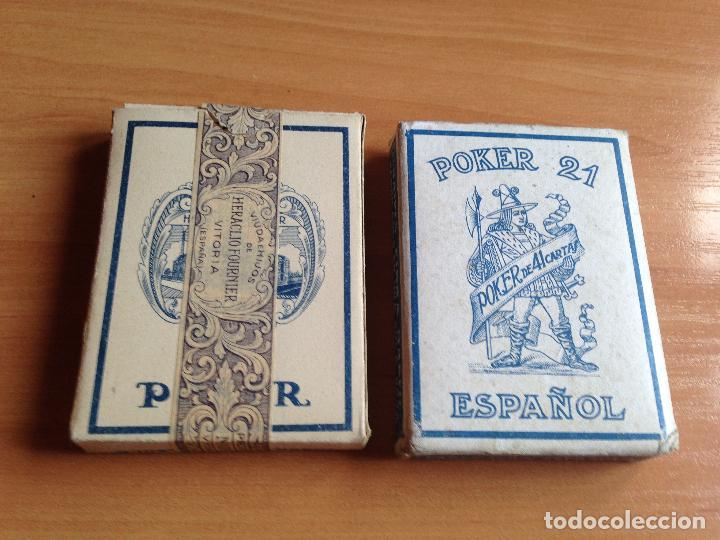 Barajas de cartas: LOTE 2 ANTIGUAS BARAJAS CARTAS POKER 21 ESPAÑOL HERACLIO FOURNIER - Foto 2 - 61842632