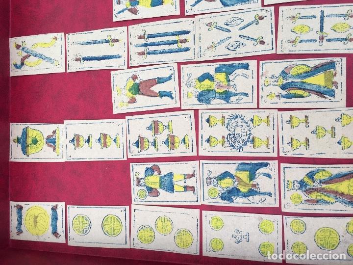 Barajas de cartas: BARAJA 40 NAIPES MUY RARA HEMISFERIOS CORONADOS PINILLOS DE VALLEJO 1845 - Foto 2 - 62615056