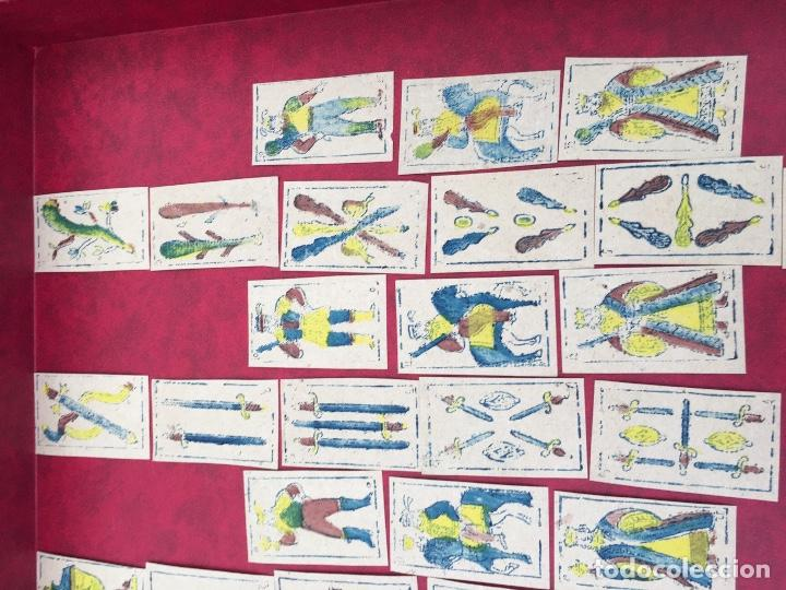 Barajas de cartas: BARAJA 40 NAIPES MUY RARA HEMISFERIOS CORONADOS PINILLOS DE VALLEJO 1845 - Foto 3 - 62615056